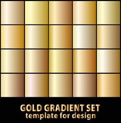 Set of gold gradients for your design. Stock vector illustration