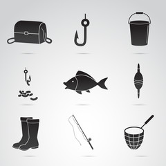 Fishing vector icon set.