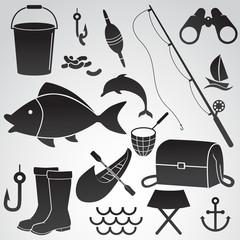 Fishing vector icon set.