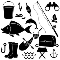 Fishing icon set. Vector art.