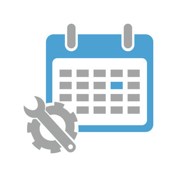 Vector illustration of an icon with an image of a wrench with a gear and calendar for an application, a website, an infographic, a business presentation on a white background