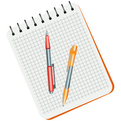Notebook, red  pen and yellow pen on a white background