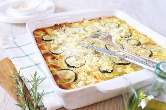 Zucchini gratin with parmesan cheese
