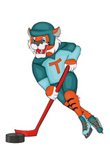 Tiger plays hockey. Cartoon style. Isolated image on white background. Clip art for children.