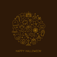 Halloween card of line icons. Outline symbol collections in gold color on brown background.