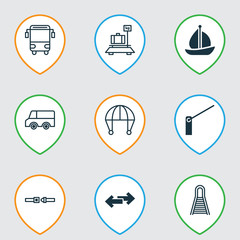 Delivery Icons Set. Collection Of Safety Belt, Navigation Arrows, Baggage And Other Elements. Also Includes Symbols Such As Navigation, Railroad, Sail.