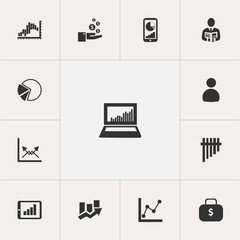 Set Of 13 Editable Analytics Icons. Includes Symbols Such As Decrease, Bar Chart, Upward Direction And More. Can Be Used For Web, Mobile, UI And Infographic Design.