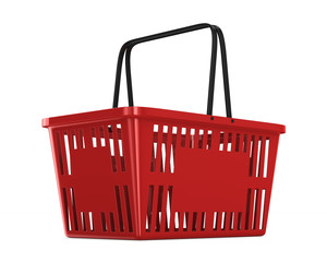 Red empty shopping basket on white background. Isolated 3d illustration