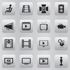 Set Of 16 Editable Movie Icons. Includes Symbols Such As Video Camera, Camera Strip, Telly And More. Can Be Used For Web, Mobile, UI And Infographic Design.