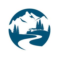 Vektor Piktogramm einer Berglandschaft mit Bach oder Straße