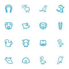 Set Of 16 Editable Zoology Outline Icons. Includes Symbols Such As Piglet, Bobcat, Pearl And More. Can Be Used For Web, Mobile, UI And Infographic Design.