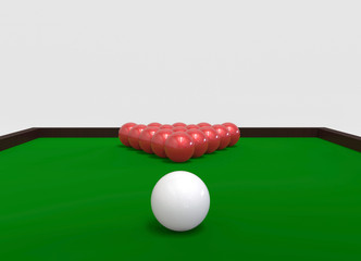 3d rendering. a white and rack of red billiards ball on the green pool with copy space