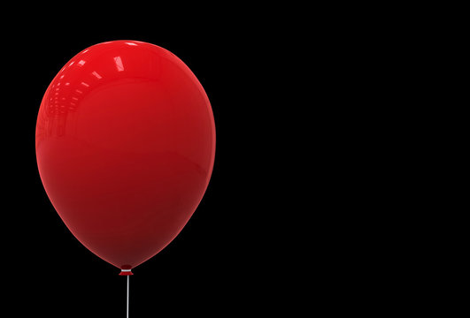 3d rendering. a Big red balloon isolated on black background. Horror halloween object concept