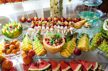 close up of a fresh fruits on a buffet
