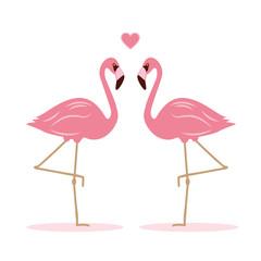 zwei flamingos haben sich lieb