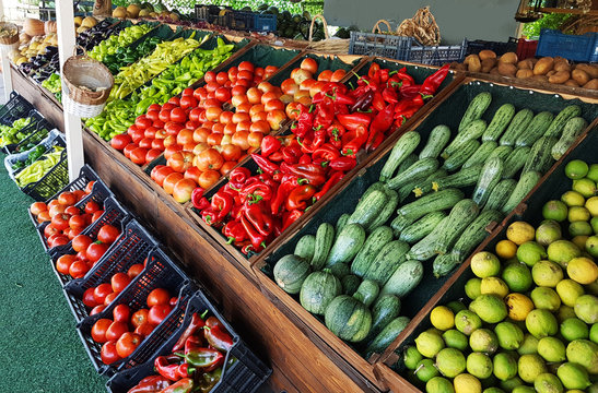 grocery market fruits vegetabes greece