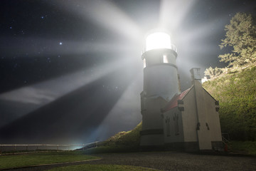 Low angle view of Heceta Head Lighthouse during night