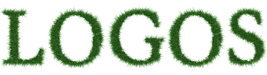 Logos - 3D rendering fresh Grass letters isolated on whhite background.