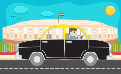 Cartoon Taxi Driver Driving in front of Parliament