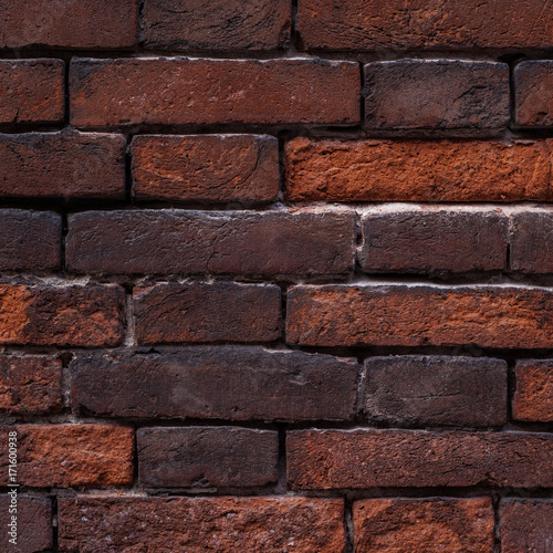 Red Brick Wall Background Close Up Vintage Textured Brick