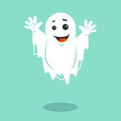 Colored illustration of a smiling ghost