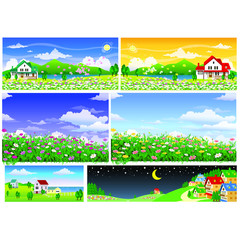 six scenery about flowers and house