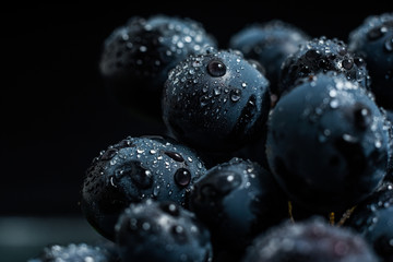 black grapes with droplets