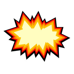 Comic explosion isolated on background. Comic speech bubble. Heavy explosion icon. Vector stock.
