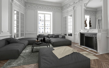 Modernes Couch Sofa Set in Luxus Altbauwohnung