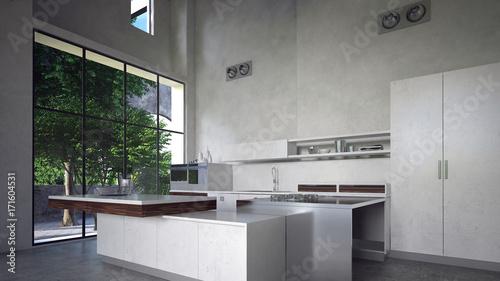 moderne k che mit k cheninsel in beton loft stockfotos und lizenzfreie bilder auf. Black Bedroom Furniture Sets. Home Design Ideas
