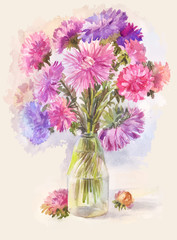 watercolor bouquet of lilac aster