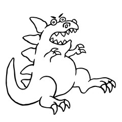 Cartoon big angry dinosaur. Vector illustration.