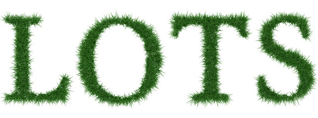 Lots - 3D rendering fresh Grass letters isolated on whhite background.