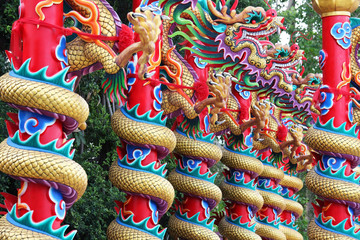 colorful tradition dragon pole construction.