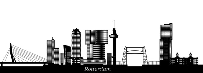 Papiers peints Rotterdam rotterdam skyline with hotel, landmarks erasmusbridge and modern architecture