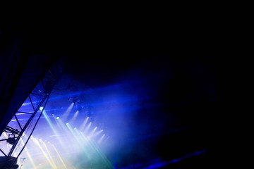 Bright stage lights and lasers