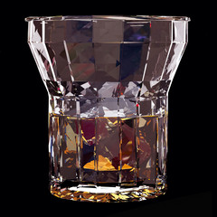 Low poly glass of whiskey with ice on black background