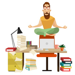 Office meditation concept vector illustration