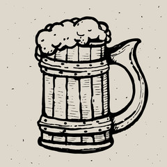 Retro style beer mug or glass engraving. Local brewery. Vintage vector engraving illustration for web, poster, label, invitation to oktoberfest festival, party. Beer pint sketch style illustration