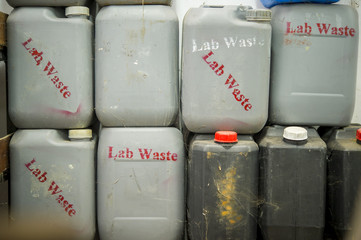 Tanks for the storage of chemical waste.