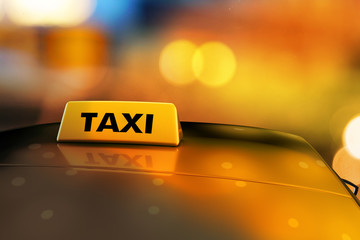3d rendering Yellow taxi sign on the roof of car in a city street at night. Luminous neon taxi sign on bokeh big city background