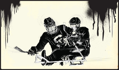 ICE HOCKEY. From the series SILENT HEROES - Athletes with physical disabilities. An hand drawn vector. - - - Note - Any accurate photo original for this picture, original is created by me - - -