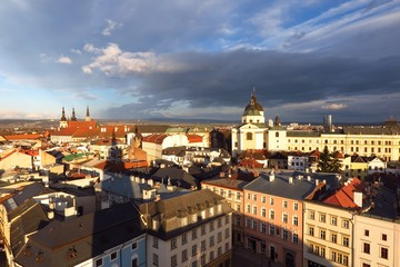 Olomouc, Czech Republic rooftop view of Baroque city under dramatic sky