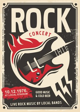 Rock music retro poster design with electric guitar and fire flames on old paper texture.