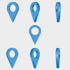 Location icon. Set of 3d mapping pins. Vector illustration.