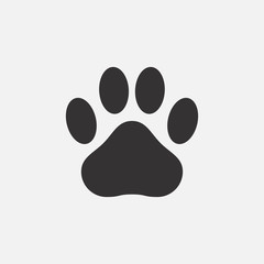 Paw print icon. Footprint of an animal - cat, dog, bear. Vector illustration.