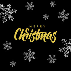 Merry Christmas! Hand written lettering and christmas doodle on black background.