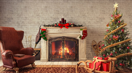 Christmas at home 3D Rendering