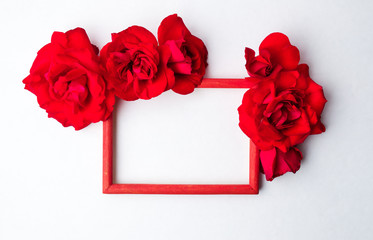 Red roses on empty photo frame