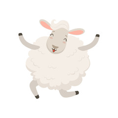 Cute happy white sheep character jumping vector Illustration